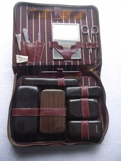 7357bccf138 SALE,Vintage Mens Travel Kit,Grooming Kit,Leather Toiletry Case,Unisex  Travel Leather Accessory,Manicure set,Gift Idea for Man