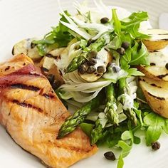 Char-grilled trout with kipfler potato salad