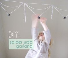DIY how-to Tutorial: cotton twine spider web garland for Halloween party decor