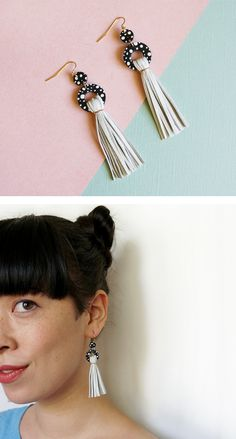 Spotted circle + White leather tassel Earrings ○ Punched + cut from reclaimed leather ○     | Scandinazn ⁂