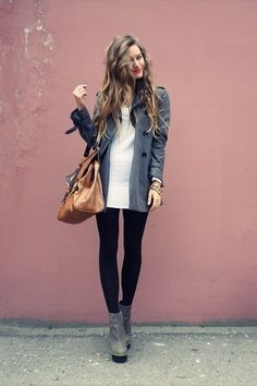 comfortable grey + black winter outfit