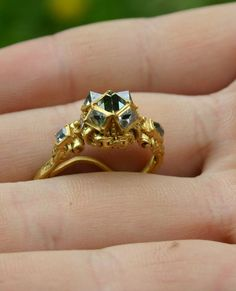 Rennaisance ring with 7 diamonds, found with metaldetector near an old castle in Tåsinge, Denmark, where the second queen of Christian the fourth used to reside. . Additional information about this ring is more than welcome at dennis(AT)cutntot.dk  Found by Dennis Maigaard, May 5th 2014
