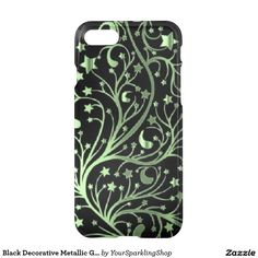 Black Decorative Metallic Green Look Stars  #iPhone7 Case