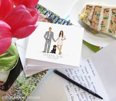 We love the idea of using a custom illustration of the bride and groom for wedding thank-you cards.