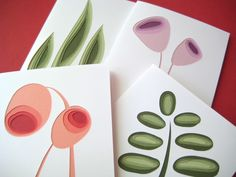 3D greeting cards FTW!!!   Retro Plants set of four art cards by Crafterall on Etsy