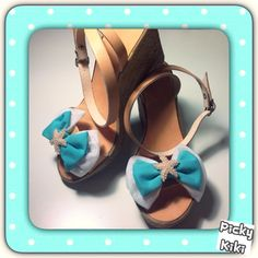 """""""Blue lagoon"""" wedges Handmade real leather wedges with bow and pearl starfish Blue Lagoon, Trendy Shoes, Leather Wedges, Starfish, Real Leather, Bows, Fashion Outfits, Pearls, Sandals"""