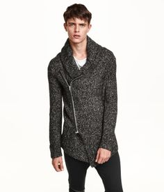 Soft melange moto-style cardigan with asymmetric front zip, shawl collar, & a slightly longer, asymmetric front section. | H&M Divided Guys