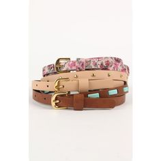 With Love From CA 3 Pack Floral And Stud Belts ($15) ❤ liked on Polyvore