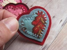 sample sale  valentine heart felt and fabric brooch by jenmenkhaus