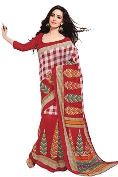 Casual Red,white Color Printed Silk Saree