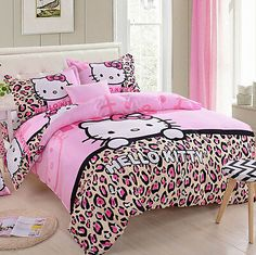 Lt Twin Full Queen Size Leopard Print Pink Hello Kitty Toddler Prints Duvet Cover Set/bed Linens/bed Sheet Sets/bedclothes/bedding Sets/bed Sets/bed Comforter Sets/bed in a Bag without comforter, Queen)