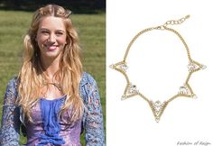 In the fifth episode Olivia wears this sold out Elizabeth Cole Gold-Plated Triangle Swarovski Crystal Necklace