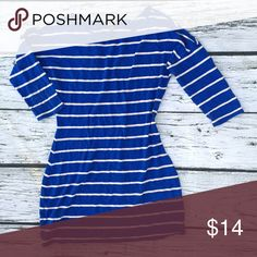 Striped Tee Dress Beautiful striped dress, great with leggings. Some slight wear from wash. Not noticeable. Priced accordingly. •No returns, no trades •10% discount on 3+ items Express Dresses
