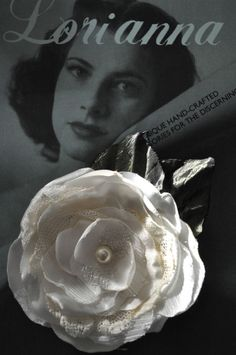 white rose flower hair clip bride dress pin lace brooch wedding lace vintage new