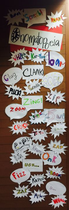 Teaching Onomatopoeia door decor! Love the idea of displaying student work like this.