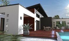 Cette maison présente une architecture résolument moderne mariant des toitures monopentes, des grandes baies vitrées, des jeux de matériaux (bois)[...]