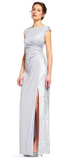 Adrianna Papell | Jersey Dress with Sequin Inset Skirt