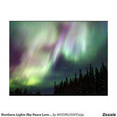 Northern Lights Sky Peace Love Winter Photograph Postcard