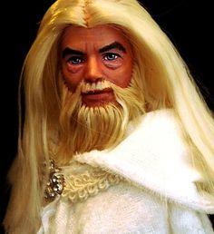 @Abigail (Baumann) Wangler(lol It's like Gandolf meets Hulk Hogan....hahaha) The Hobbit OOAK Gandalf The White Repaint Custom Ken Doll Lord of The Rings