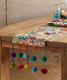 Embroidered Wool Table Runners - POMPOSA TABLE RUNNER – Each of these colorful runners is one of a kind, made by the women in the villages around Cusco, Peru, as stitch samplers to show off their embroidery skills. Hand Embroidery, Embroidery Designs, Ramadan Decorations, Creation Deco, Bohemian Decor, Table Runners, Diy And Crafts, Sewing Projects, Crafty