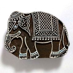 Decorated Jaipur Elephant Wooden Stamp