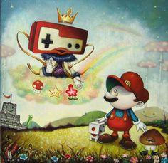 japanese Pop Surrealism Mario by Yosuke Ueno