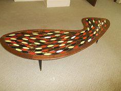 Mcm Mid Century Modern Coffee Table Mosaic Tile Original