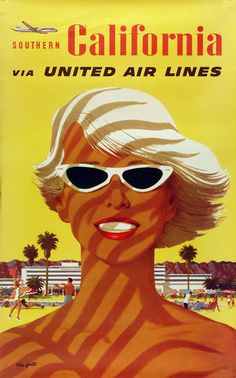 Original United Airlines Southern California Poster