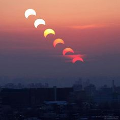 Eclipsed Sun Sets above Seoul By: Kwon O Chul The path of the 15 January 2010 annular solar eclipse ends in the Eastern Asia. TWAN photographer in South Korea captured this multi-exposure digital image of the partially eclipsed setting sun above Seoul. Sun Moon Stars, Solar Eclipse, Milky Way, Double Exposure, Digital Image, Seoul, Sun Sets, South Korea, World