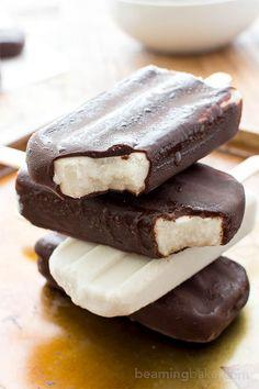 Vegan Ice Cream Bars (V+GF): an 8 ingredient recipe for the BEST decadent chocolate-dipped vegan ice cream bars made with whole ingredients. #Vegan #DairyFree #Paleo #GlutenFree | http://BeamingBaker.com