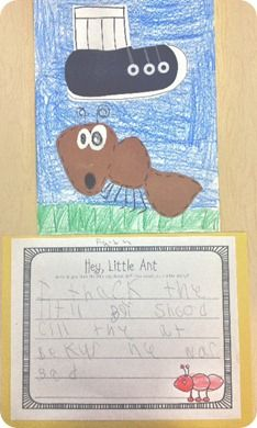 Kids love the book Hey Little Ant!  Great activity for writing in response to literature.
