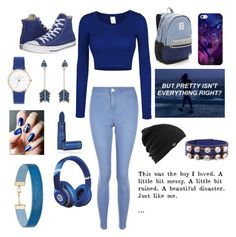 """""""Blue"""" by yinyang-bestfriend-goals ❤ liked on Polyvore featuring LE3NO, New Look, Victoria's Secret, Converse, Casetify, Pamela Love, Lipstick Queen, Burton, Beats by Dr. Dre and Miss Selfridge"""