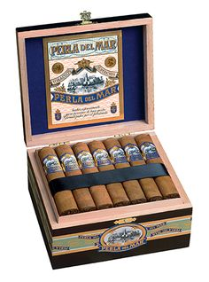 """Perla del Mar cigars are medium bodied and handmade in Nicaragua at Fabrica de Tabacos San Rafael S.A., the same boutique factory that produces J.C. Newman Cigars. These beautifully constructed, box-pressed """"Pearl of the Sea"""" cigars feature a silky Ecuadorian Connecticut wrapper and a diverse blend of Nicaraguan long filler tobaccos. The unique combination allows the deep and balanced flavors of Perla del Mar to fully emerge resulting in a smooth, creamy, and satisfying smoking experience."""