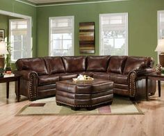 Simmons Encore Brown Leather Sectional Sofa Ottoman Nailheads By Simmons At  The Repo Furniture Store
