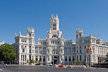 Madrid;  Cybele Palace: City Hall of Madrid and iconic monument of the city/ in 1561 it had 30,000 inhabitants