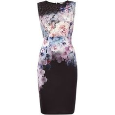 Lipsy Sleeveless floral print laser cut bodycon dress
