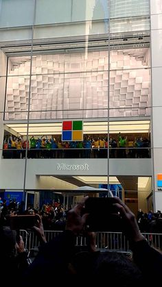 And they're off: The flagship NYC @microsoftstore opened at 677 Fifth Ave. at 53rd St. on Oct. 26. The Culture Wall, the huge video screen above the dancing @Microsoft employees, will show non-commercial art to the tourists and office workers below. The new @Microsoft Store, located just five blocks south of the 24-hour Apple Store at 767 Fifth Ave, is open 9 a.m. to 9 p.m. every day. #MicrosoftNYC