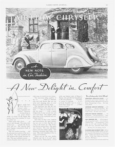 """""""A New Note In Car Fashion, A New Delight In Luxury,"""" 1934 Chrysler Airflow Ad"""