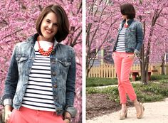 pink capris with black/white stripe top and jean jacket- nude shoes, or maybe cheetah print