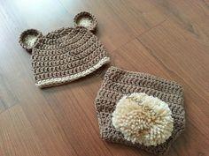 Baby Bear Hat & Diaper Cover Set Cafe Buff - Crochet Baby Newborn Preemie Costume Photo Prop Girl Boy Halloween  Winter Outfit
