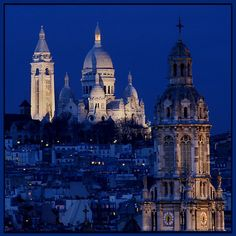 Blue Hour in Paris, Sacre Coeur, Montmartre.  Oh how I loved Scare Coeur and Montmartre in general!! Notre Dame, Empire State Building, Big Ben, Cathedral, Travel, Voyage, Cathedrals, Viajes, Traveling