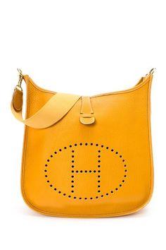 Vintage Hermes Leather Evelyn Stamp Square F Gold Hardware Shoulder Bag on HauteLook