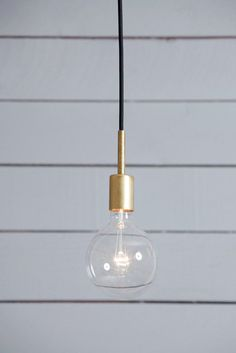 Brass Pendant Light - Mid Century  Industrial light electric $70