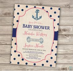 Nautical Baby Shower Printable Invitations Navy Blue and Coral Pink Theme Party Navy Girl Anchor Vintage Download Invitations pdf jpeg