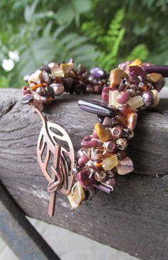 Rustic Plums Crochet and Beads Bracelet - Purple - Acai - Bead Cluster