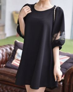 Ladylike Round Collar Hollow Out Lace Long Sleeve Shift Dress For WomenLace Dresses | RoseGal.com
