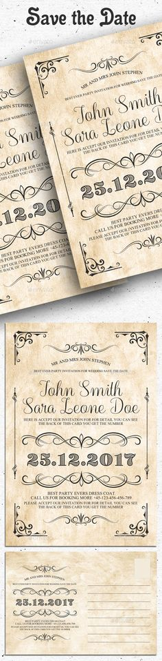 Best Wedding Invitation Template Design Images On Pinterest - Free save the date templates photoshop