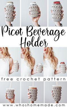 This free and easy crochet pattern includes instructions to make 4 sizes of coffee cozies and can cozies! These are great crochet gifts and market sellers! The pattern is quick and simple and creates a beautifully textured crochet cup and can cozy! Coffee Cozy Pattern, Crochet Coffee Cozy, Crochet Cozy, Crochet Gifts, Free Crochet, Quick Crochet Patterns, Easy Crochet Projects, Yarn Projects, Bobble Crochet