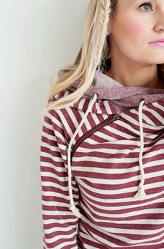 Stripes Double Hooded Sweatshirt