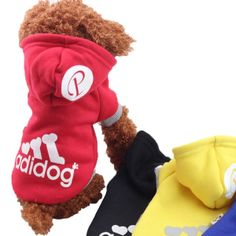 100% Cotton Dog Clothes For Summer Adidog Sport Hoodie. Type:DogsBrand Name:Pet JacketMaterial:100% CottonSeason:Spring/SummerPattern:LetterColor:Blue Red Yellow